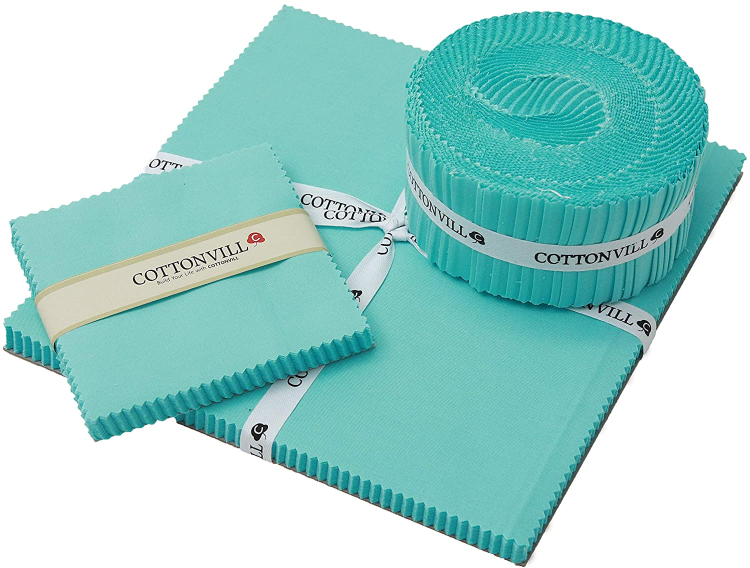 COTTONVILL 20COUNT Cotton Solid Quilting Fabric (10inch Square, 30-Blue Tint)