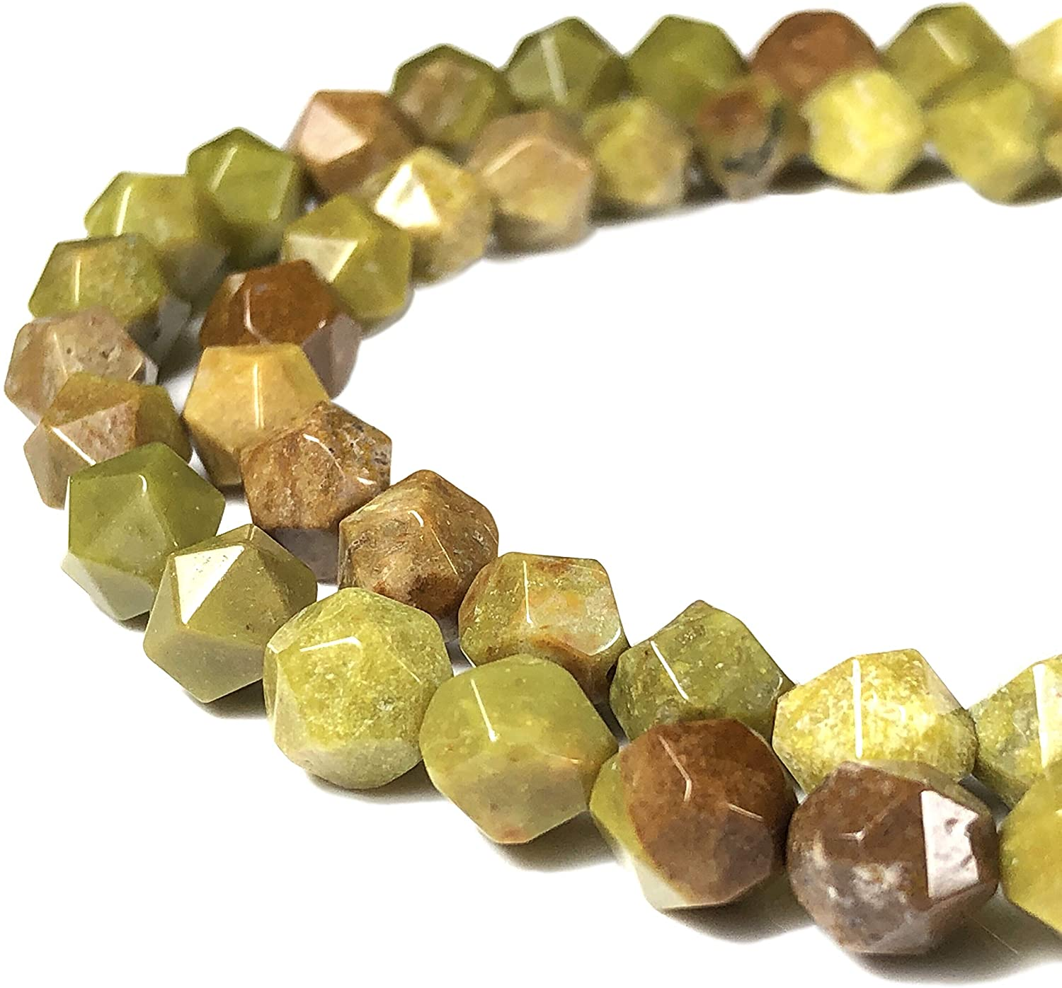 [ABCgems] Rare Australian Olive Opal 8mm Precision-Star-Cut Beads for Beading & Jewelry Making