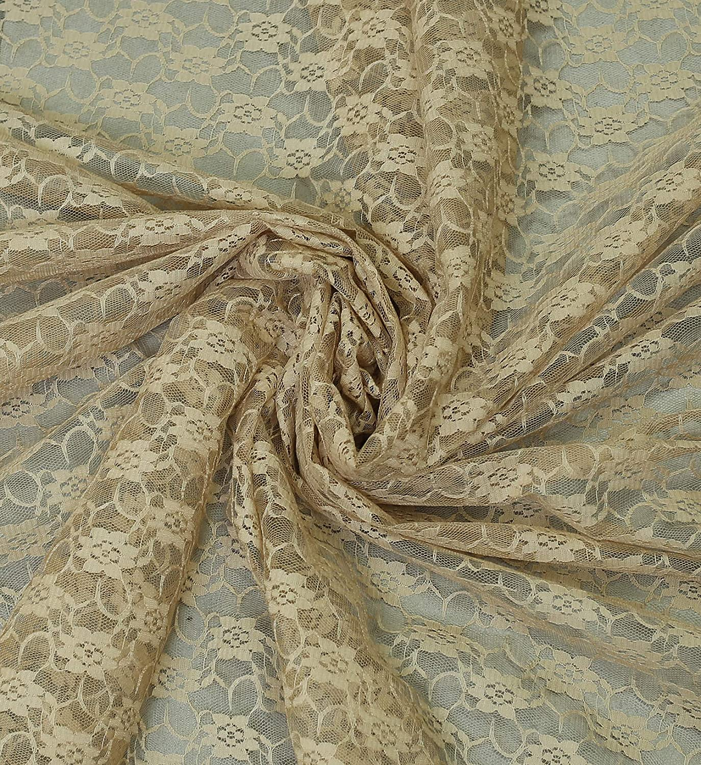 """mds Pack of 10 Yard Bridal Solid Raschel Lace Fabric, Vintage Lace Fabric Bolt for Wedding Dress,Fashion, Crafts, Decorations Lace Trim Fabric 55"""" Width- Champagne Gold"""