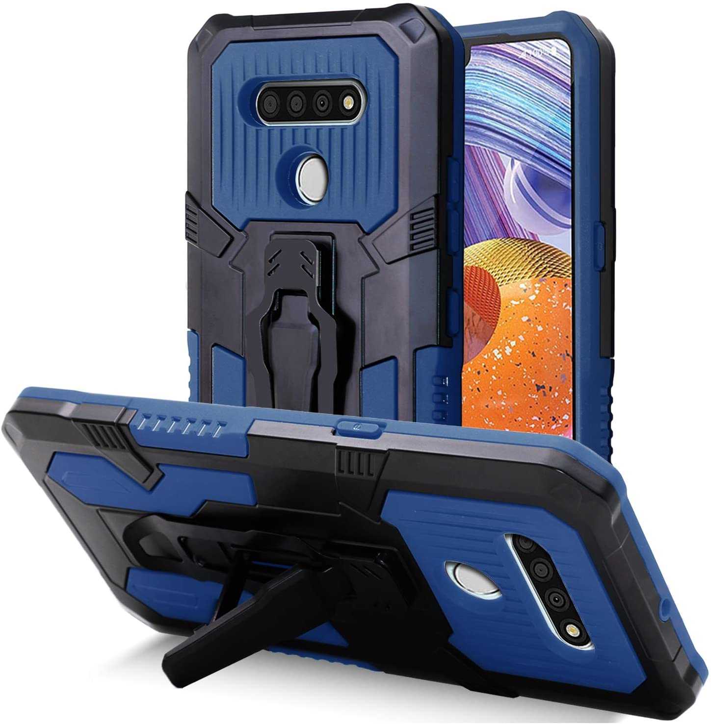 HUIQUAN Case fit for LG Stylo 6, Military Grade Reinforced Built-in Kickstand, Stainless Steel Buckle for Outdoor Activity, Shockproof & Drop Resistance (Navy Blue)