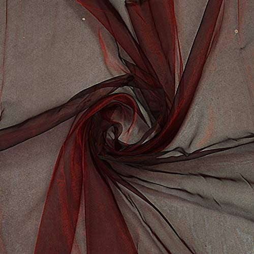 "VDS Organza Fabric 44"" inches by The Yard for Wedding Décor Dress Fashion Crafts Decorations (Pack of 10 Burgundy)"