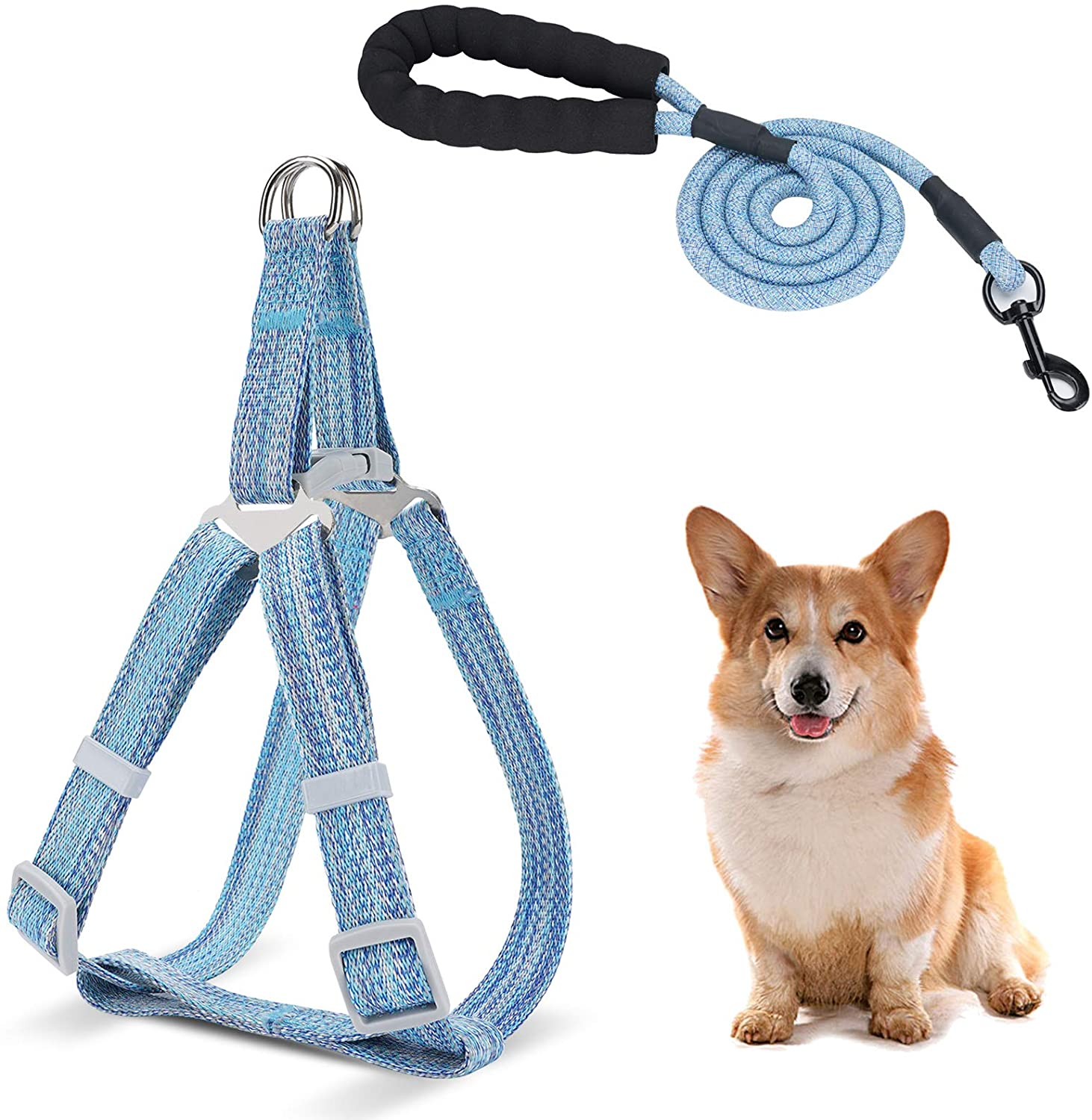 WANTRYAPET Dog Leash Harness Set, Durable Adjustable Heavy Duty Dog Harness,Soft Padded Handle Pet Leash for Dogs,Perfect for Dog Daily Training Walking Running