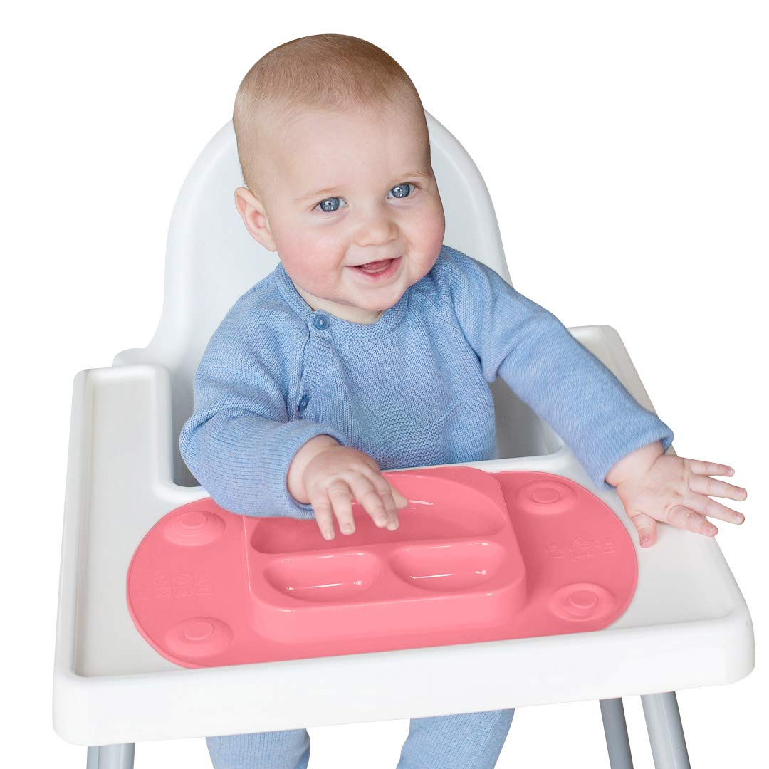 EasyMat Mini Portable Baby Suction Plate, with Lid and Carry Case for High Char Feeding and Travel (Pink)