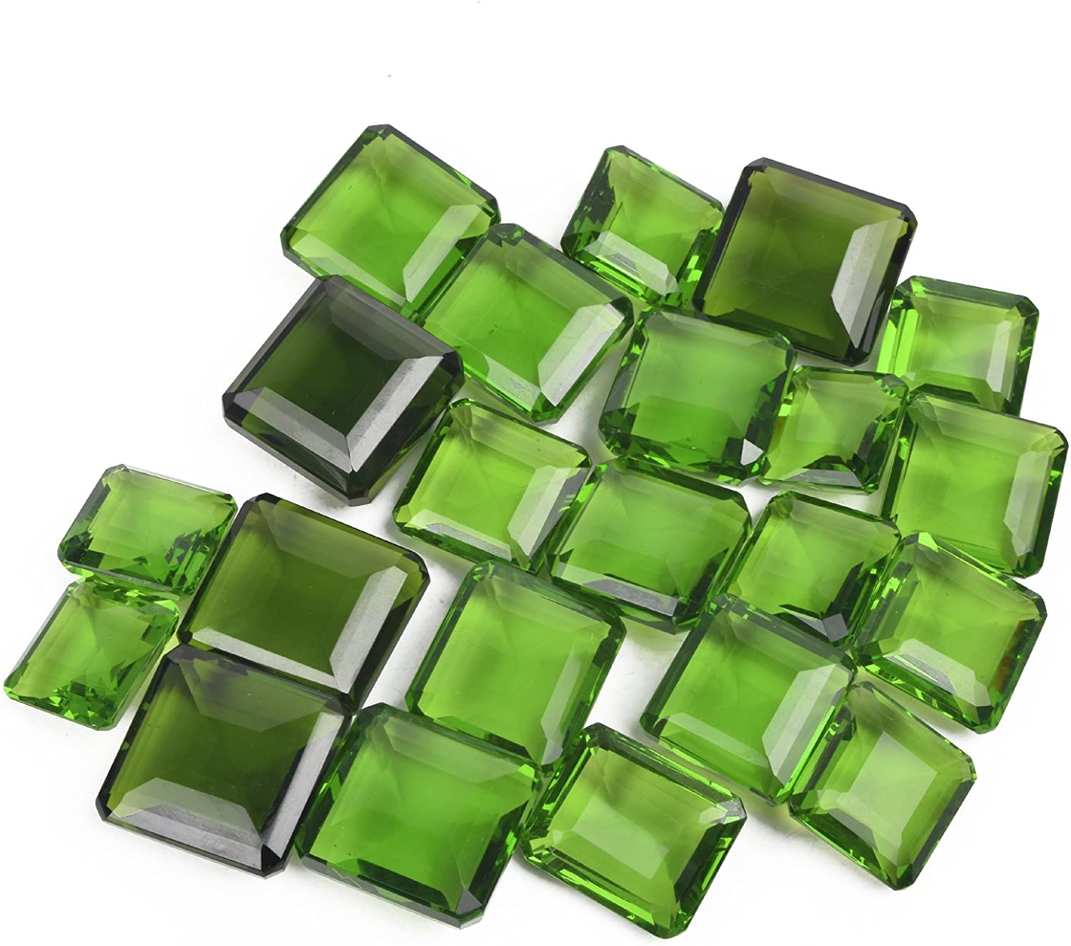 500 Ct. Brazilian Excellent Square Cut 6 Pcs Green Amethyst Loose Gemstone Lot