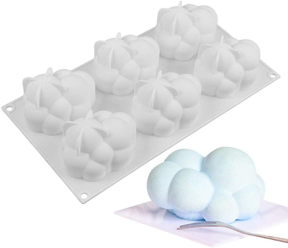 yangyang Cloud Cake Mold Silicone Mousse Moulds Square Bubble Molds for Baking 6 Cavities New