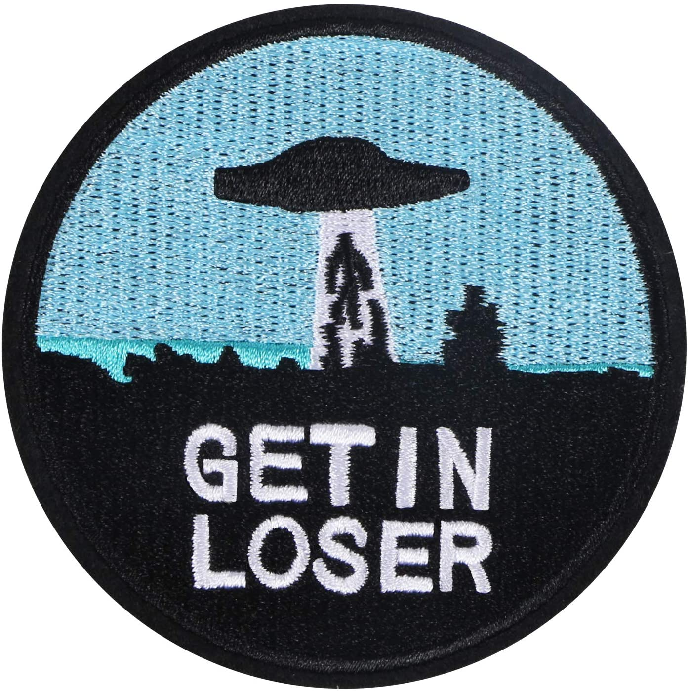 MIKIMIQI Get in Loser Embroidered Applique Patch X - Files UFO Alien Sew on or Iron on Patches for DIY Costume, Jeans, Jackets, Clothing, Bags