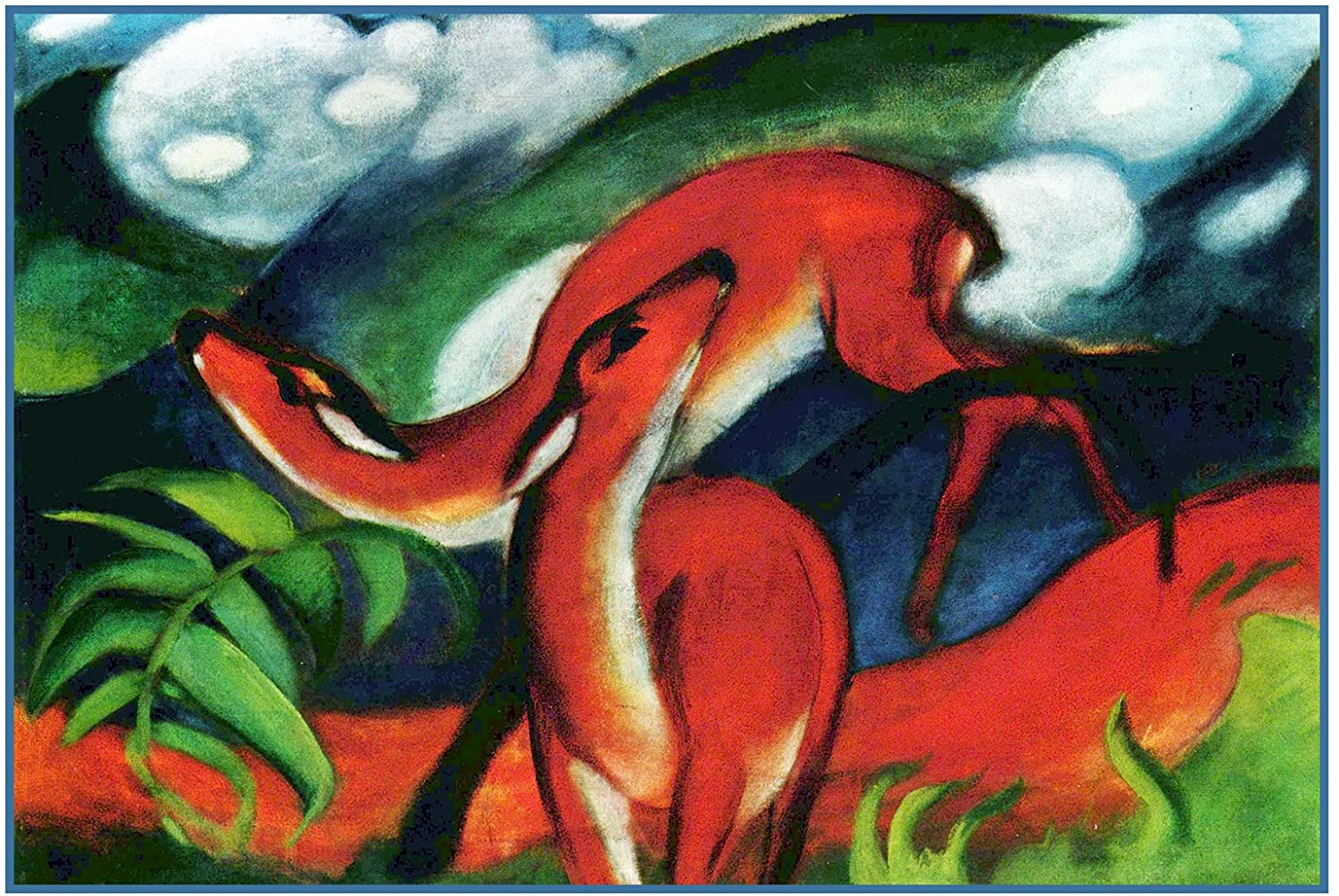 Orenco Originals Deer Playing Franz Marc Counted Cross Stitch Pattern