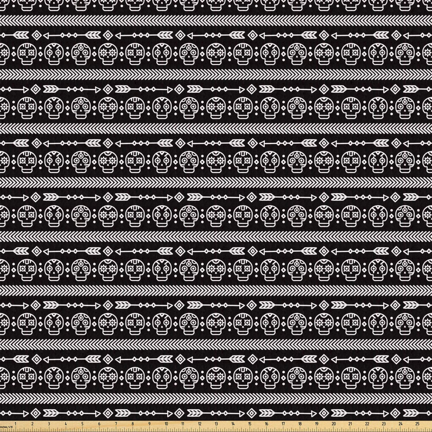 Lunarable Day of The Dead Fabric by The Yard, Hand Drawn Style Line Art Native Doodle Skulls Arrows Mexican Tradition, Stretch Knit Fabric for Clothing Sewing and Arts Crafts, 1 Yard, White Black