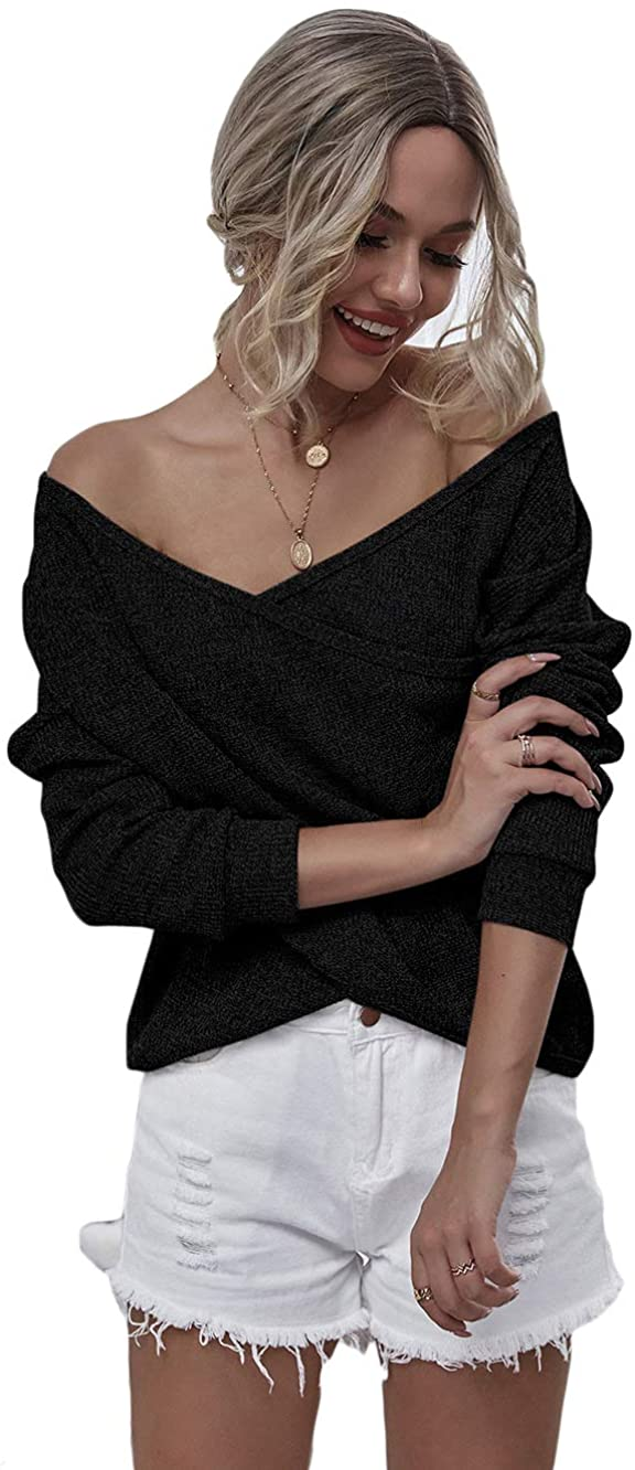 Fashring Women's Long Sleeve Deep V Neck Waffle Knit Casual Surplice Blouses Pullovers