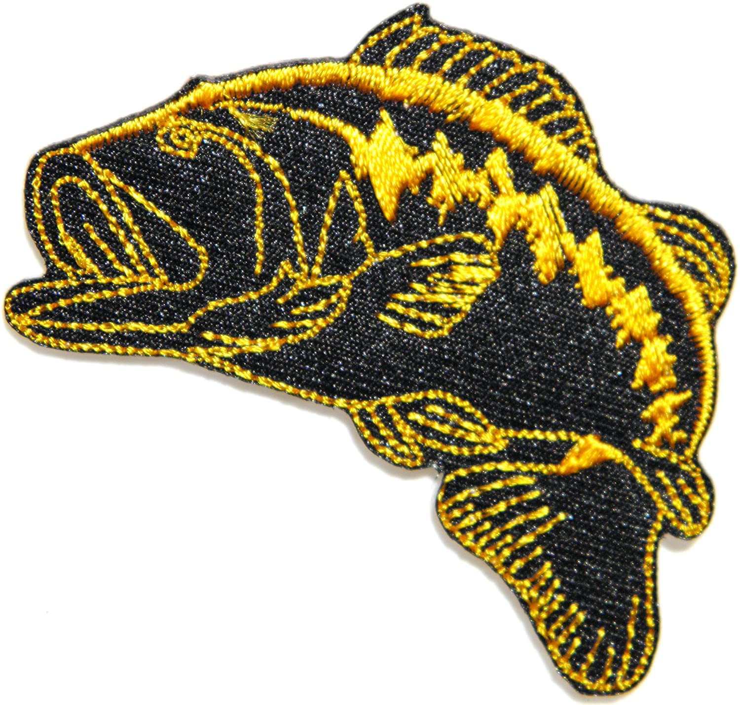 Bass Fishing Lure Hook Logo Jacket T shirt Patch Sew Iron on Embroidered Badge Sign Costum