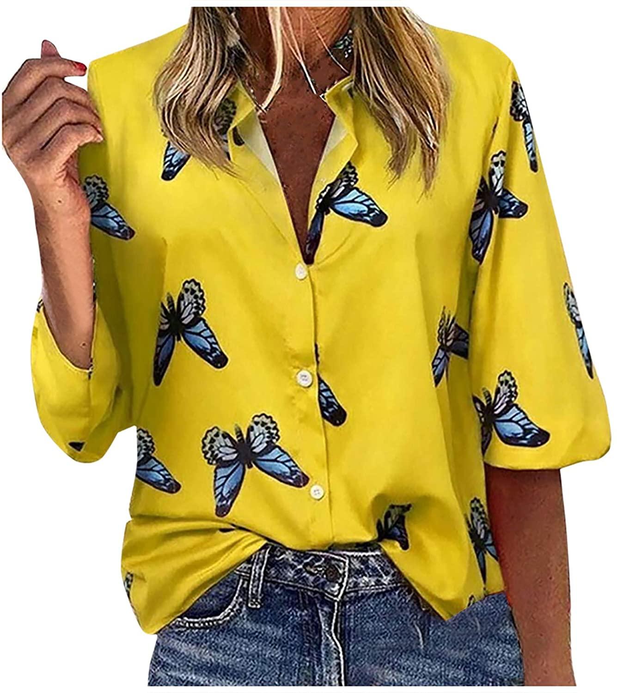 NECHOLOGY Women's Fashion Women Butterflies Printed V-Neck Long Sleeves Casual Shirt Blouse Tops Hooded Sweatshirt Hoodies