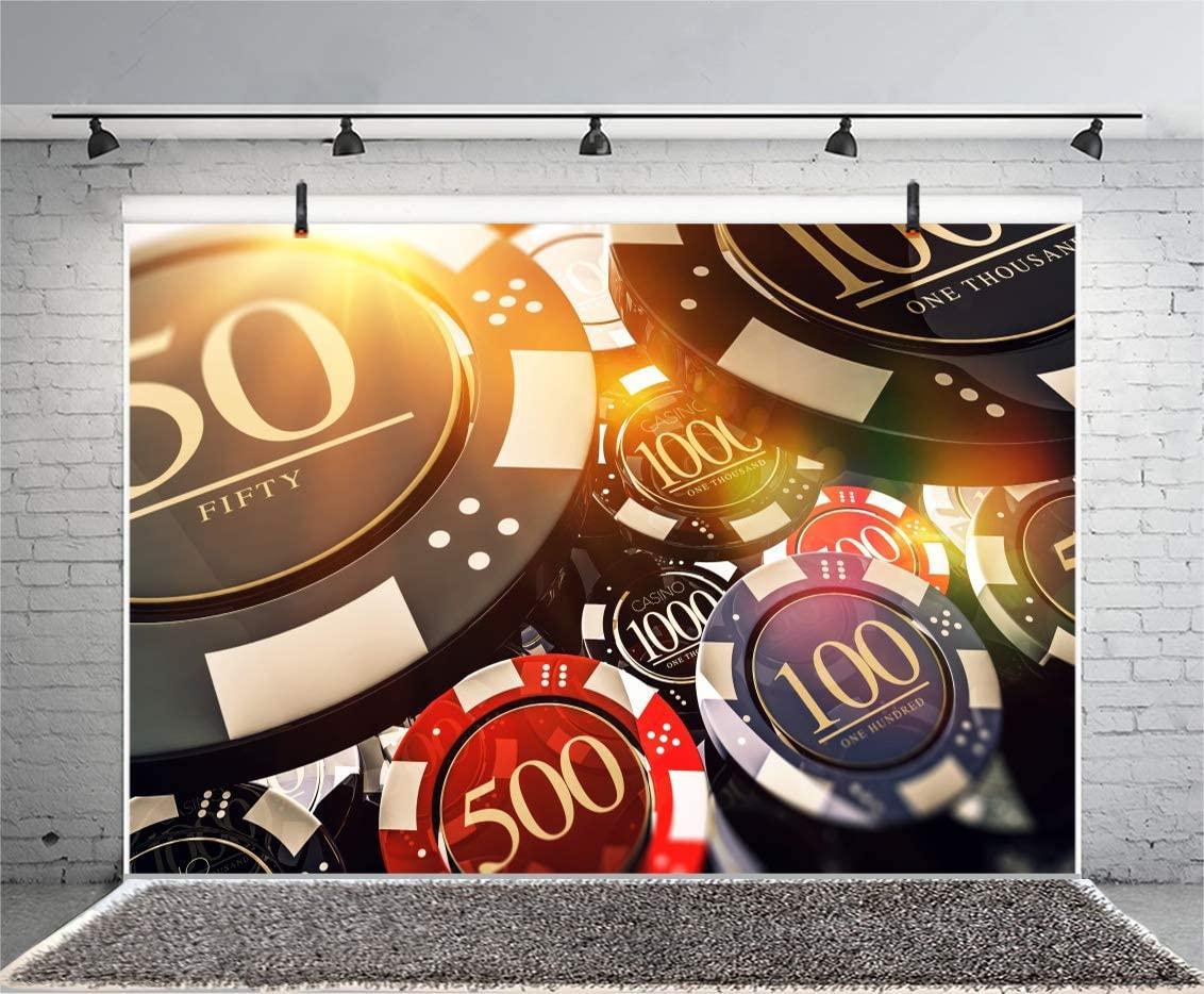 Leyiyi 5x3ft Casino Chips Photography Backdrop Las Vegas Nevada Gambling House Bokeh Bargaining Chip Roulette Wheel Lucky Card Game Background Underground Bar Photo Portrait Vinyl Video Studio Prop