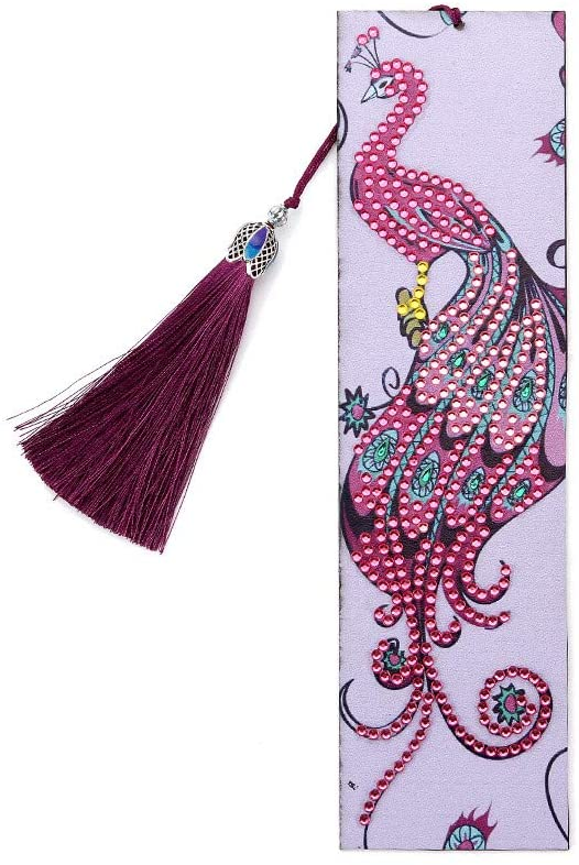 minansostey 5D Peacock DIY Bookmark,Diamond Painting Special Shaped Diamond Embroidery