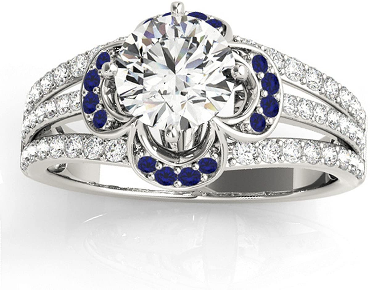 18k Gold (0.58ct) Diamond and Blue Sapphire Clover Floral Unique Engagement Ring Setting