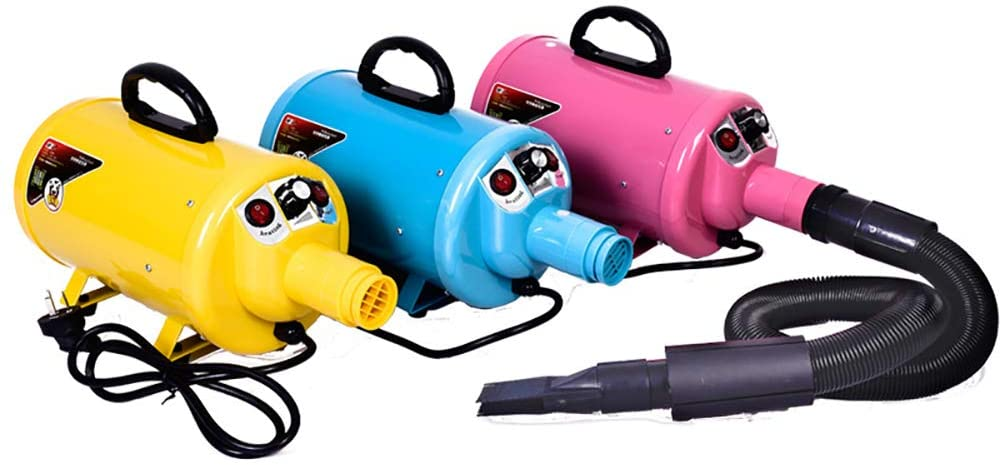 LANGYINH Pet Hair Dryer Dog Blaster Dryer Professional Low Noise Dog Grooming Dryer for Dogs Cats,with Extension Hose,4 Nozzles,Yellow