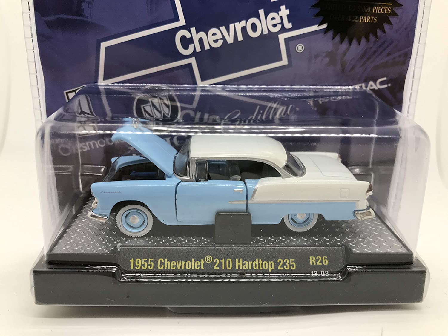 M2 Machines by M2 Collectible Auto-Thentics 1955 Chevy 210 Hardtop 235 1:64 Scale R26 13-08 Blue/White Details Like NO Other! 1 of 5000