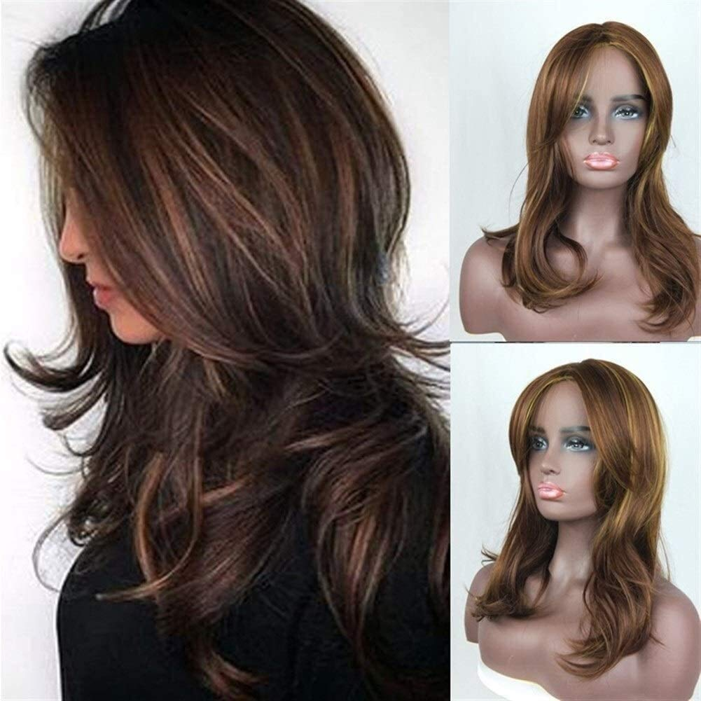 Ladies Wig Long Straight Hair Ladies Wig Gold Brown Highlights Gradient Long Curly Hair Temperament Fluffy Pear Flower Roll Womens Wigs (Color : Brown),Colour:Brown synthetic wig