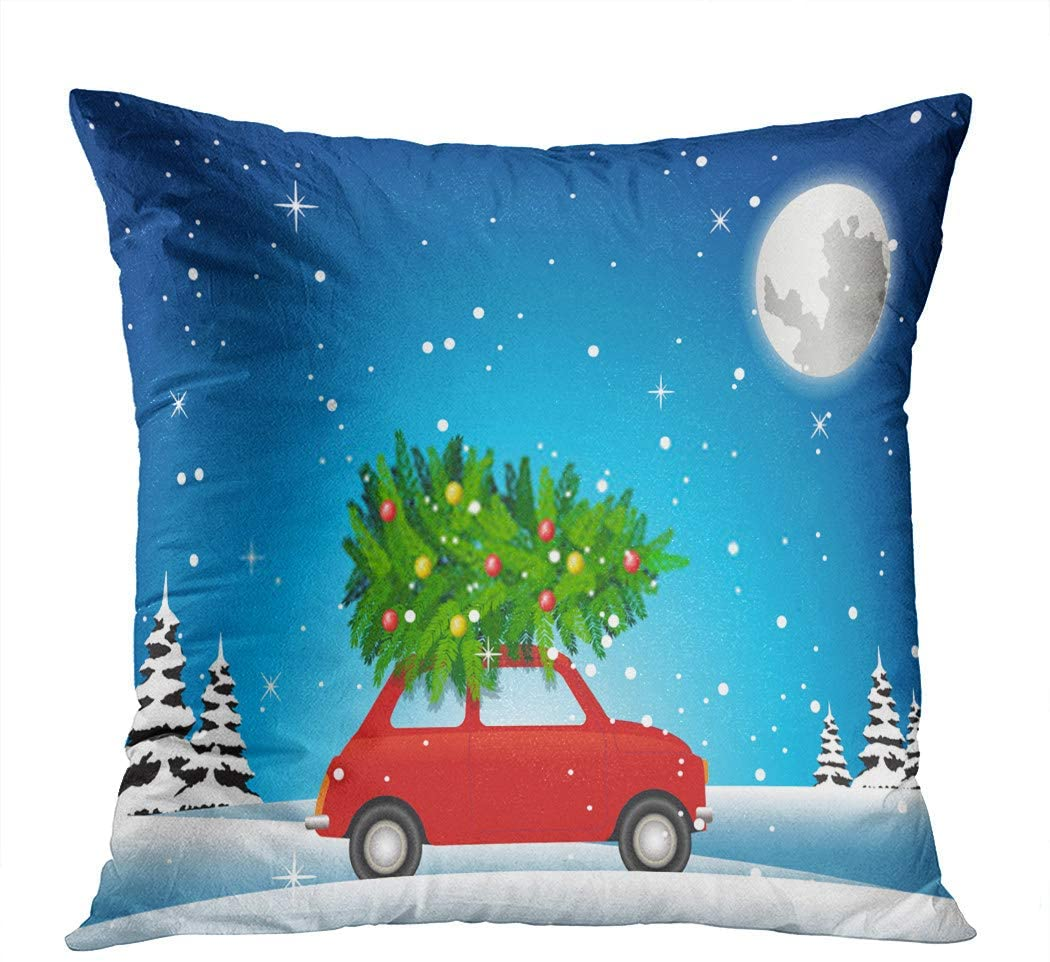 Suklly Throw Pillow Cover Square 16x16 Inch Double Print Red Car Carry Christmas Tree to Decorate Big Holiday in Winter Night Cushion Case Office Sofa Hidden Zipper Polyester Pillowcase