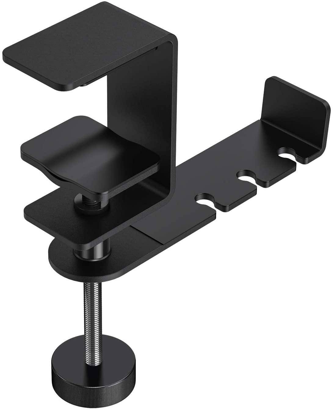 OMOTON Headphone Hanger - 360 Degree Rotation Universal Aluminum Headphone Adjustable Headset Stand Clamp Mount Desk Hook Holder Fits All Headphone Sizes