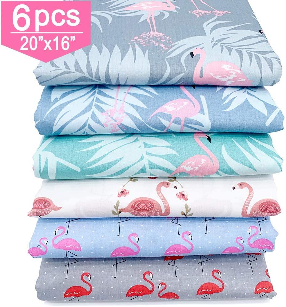 6PCS Cute Flamingo Fat Quarters Fabric Bundles, Cotton Bird Tropical Palm Leaves Pattern Precut Quilting Patchwork Scraps Squares for Girls Kids Face Cover DIY Crafting 20x16 Inch