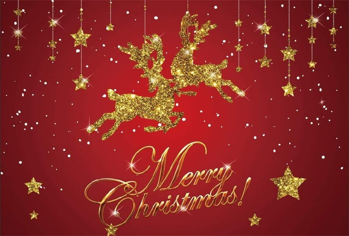 OERJU 8x6ft Merry Christmas Backdrop Glitter Golden Reindeer Stars Red Christmas Background for Photography New Year Party Banner Christmas Eve Decor Kids Adults Xmas Photo Vinyl Wallpaper