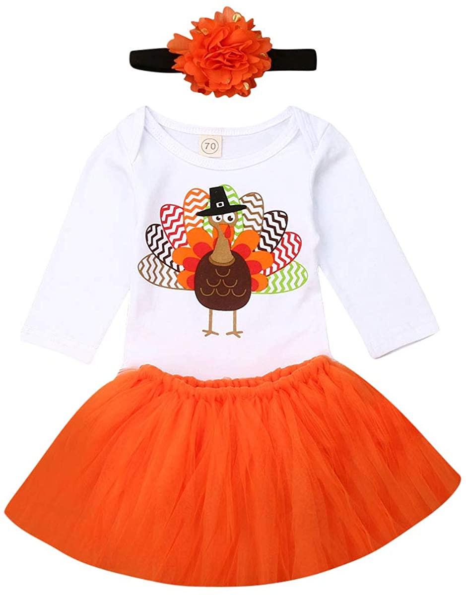 Baby Girl Tutu Skirt Set Toddler Thanksgiving Outfit Turkey Romper+ Tutu Skirt+ Floral Headband Fall Clothing Set