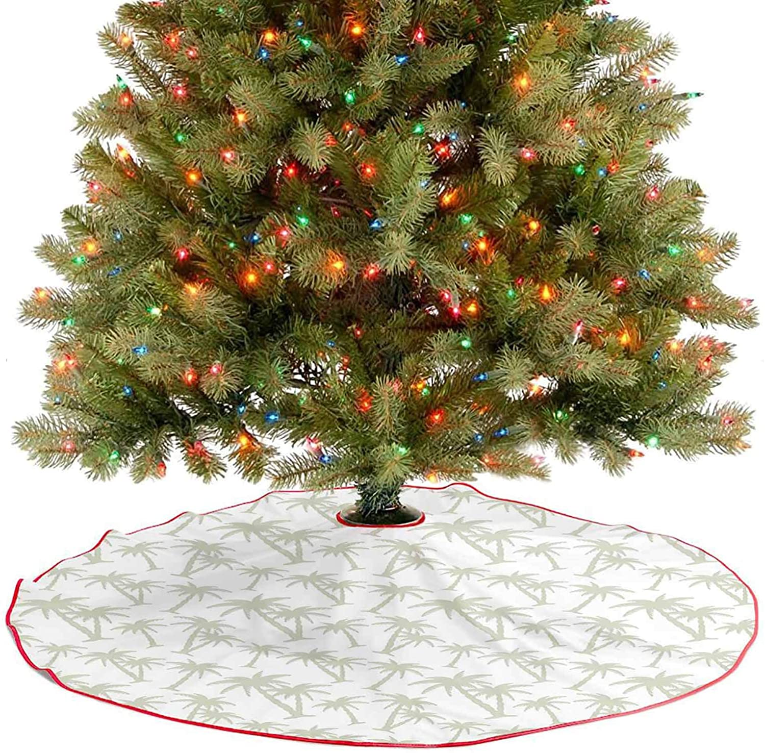 Luxury Christmas Tree Skirt Tropical Coconut Palm Trees Pattern Print Exotic Hawaiian Wild Lands Holiday Theme Image Christmas Holiday Party Decoration Super Soft and Appealing to The Eye - 30 Inch