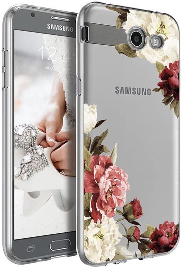 Galaxy J3 Emerge Case, Ueokeird Clear Soft Flexible TPU Watercolor Flowers Floral Printed Back Cover for Samsung Galaxy J3 Emerge/J3 2017/J3 Mission/J3 Eclipse/J3 Luna Pro (Blossom Flower)
