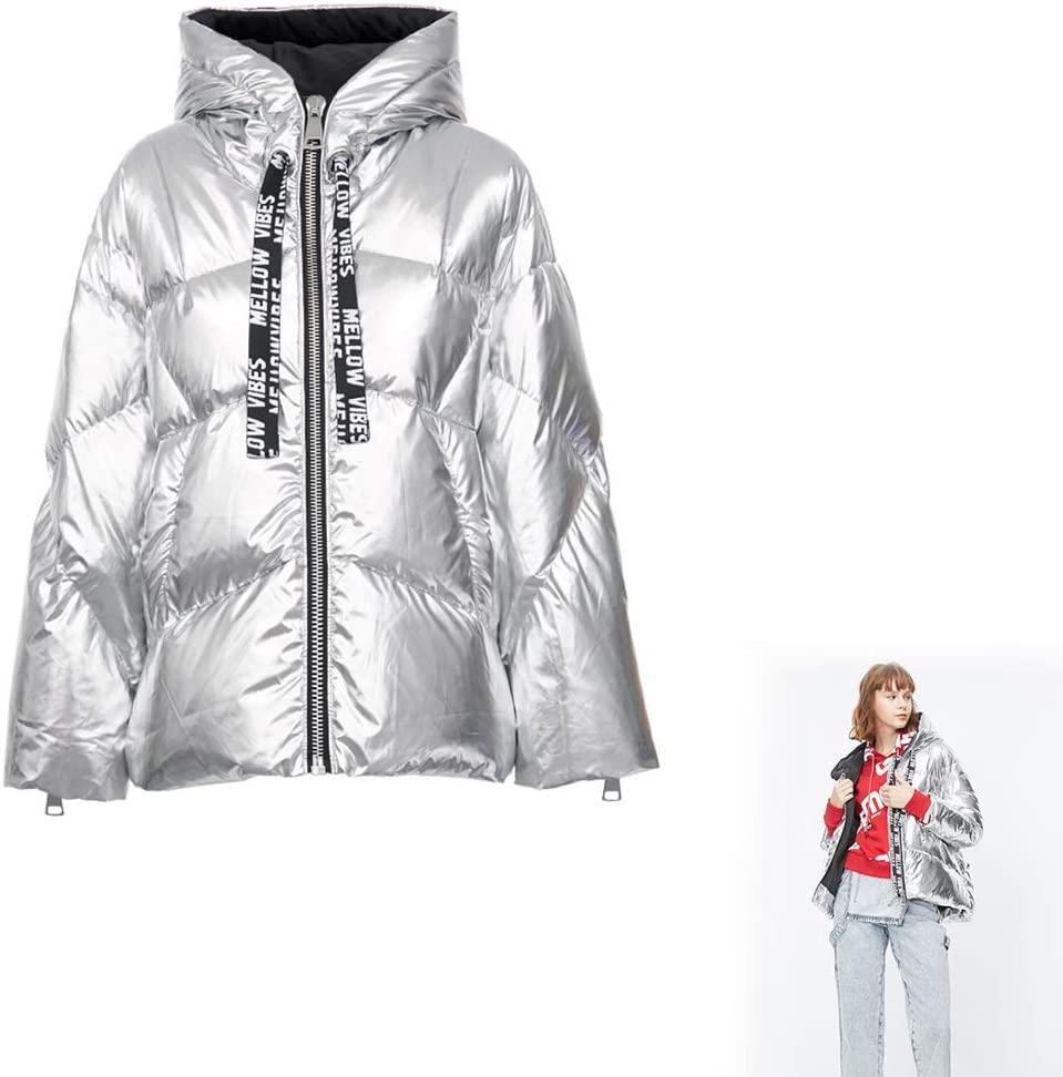 HUA JIE Women Puffer Jackets Coats, Ladies Fashion Winter Warm Slim Fit Short Overcoat Outwear, White Duck Down Windproof and Warm for Women Girls,165/84A/M