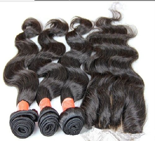 DaJun Hair 8A 3 Way Part Lace Closure with 3 Bundles Cambodian Virgin Remy Human Hair Body Wave Natural Color 16