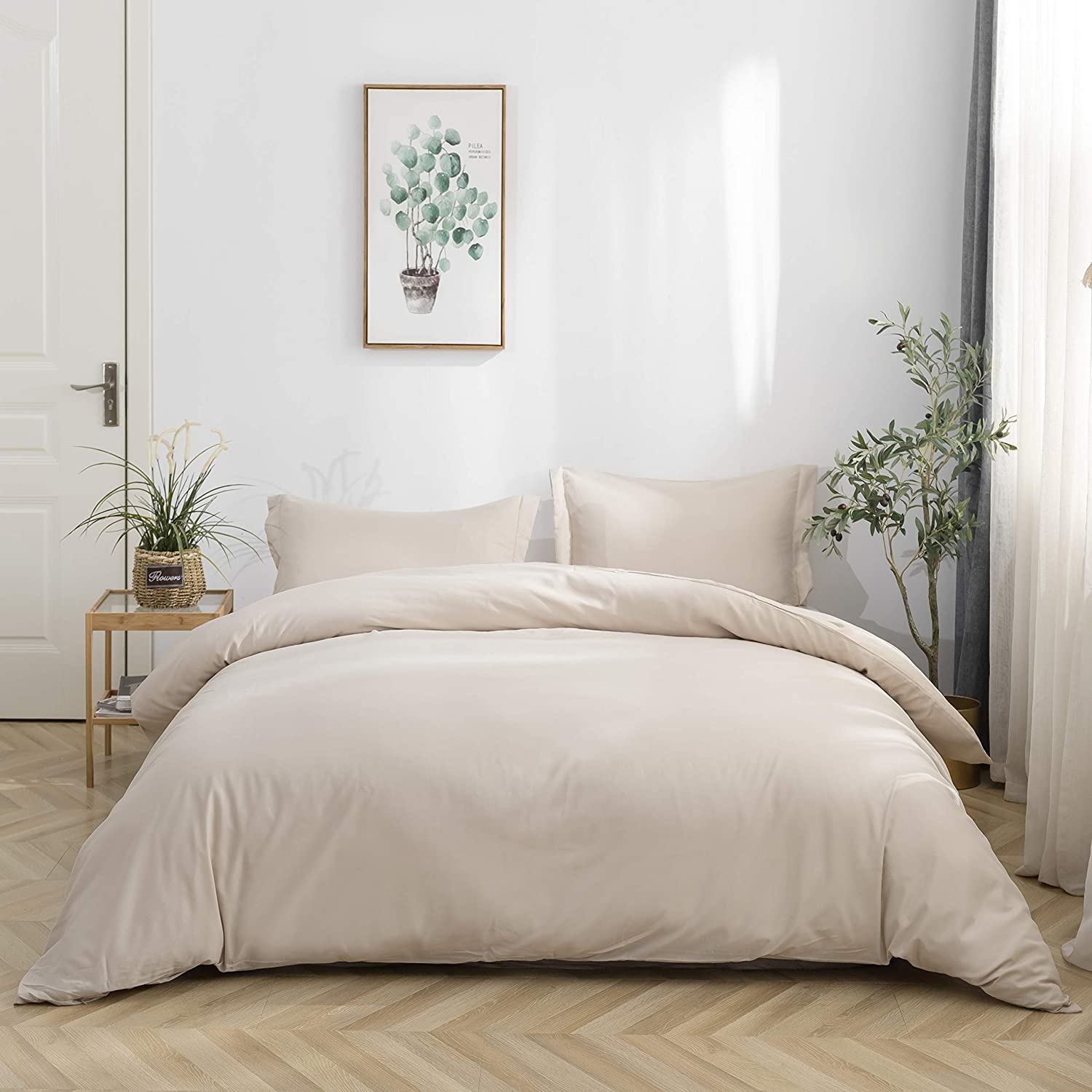 Mohap Duvet Cover Set Queen Beige 3 Pieces Double Brushed Microfiber Solid Color Ultra Soft Stain and Fade Resistant