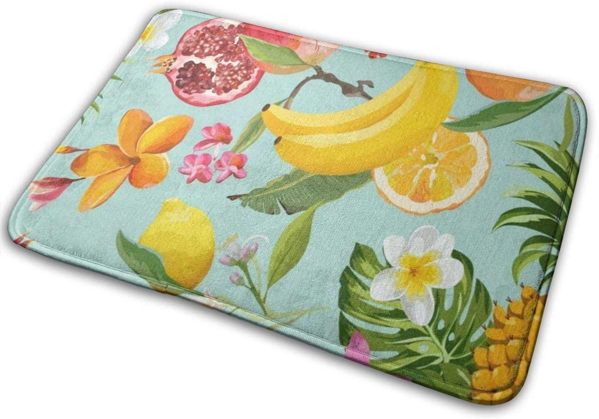 Bathroom Mat, Pomegranate Lemon Palm Leaves Bath Mats for Bathroom Non Slip, Memory Foam Bathroom Mat 15.7 x 23.5 Inch