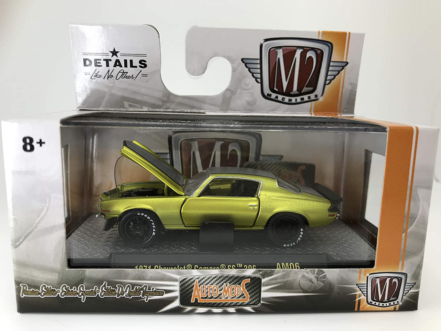 M2 Machines by M2 Collectible Auto-Mods 1971 Chevy Camaro SS 396 1:64 Scale AM06 17-49 Matte Neon Green/Black Details Like NO Other! 1 of 6000