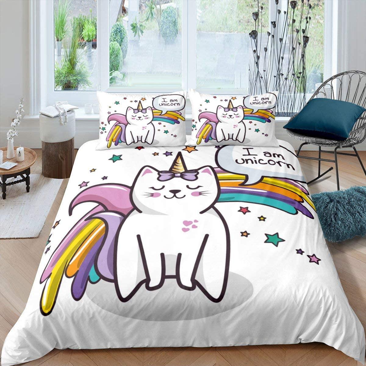 Erosebridal Kids Comforter Cover Cartoon Cat Duvet Cover Rainbow Bedspread Cover Twin Size Starry Sky Animal Bedding Set for Living Room Bedroom Guest Room Decorative, Colorful Iridescent