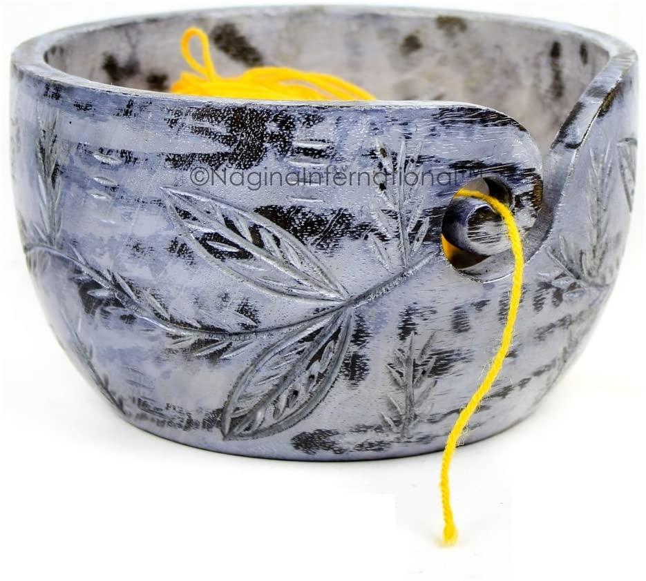 Nagina International Exquisite Premium Yarn Ball Storage Bowls   Hand Painted Lovely Decor Yet Functional Yarn Dispenser (Small (6 x 3 x 6 Inches), Ash Grey)