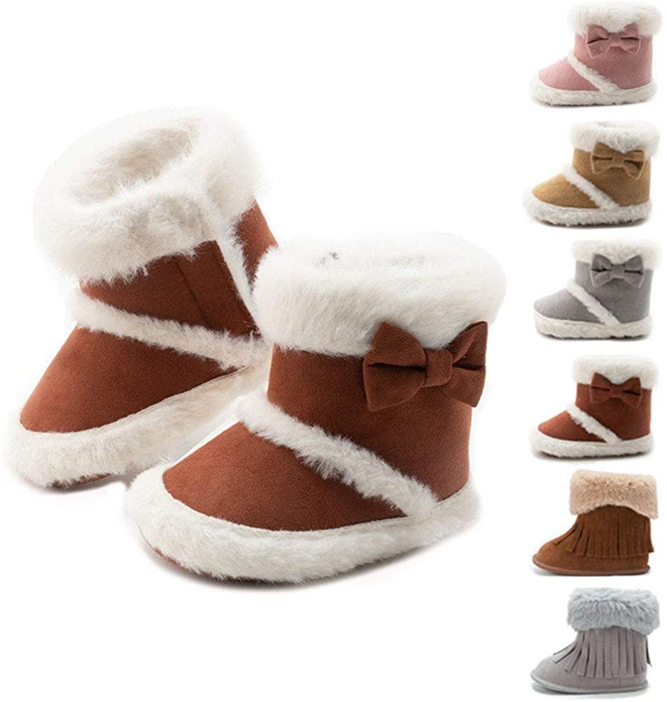 BiBeGoi Infant Baby Boys Girls Winter Snow Boots Warm Fleece Toddler Anti-Skid Soft Sole Bottom Plush Ankle Boots Unisex Newborn Crib Shoes