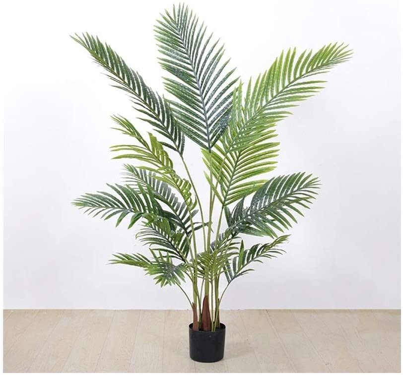 QUD Artificial Green Plant, Areca Palm Tree, Indoor Outdoor Modern Decoration Plants for Home Office Housewarming Gift, Green 20/4/2 (Size : S)