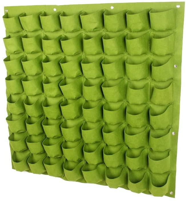 LHK Wall Garden Planter, 64 Pocket Planting Bags, Multifunction Hanging Vertical Greening Outdoor Pot Grow Home Decor, for Indoor Flower Vegetable[Green]