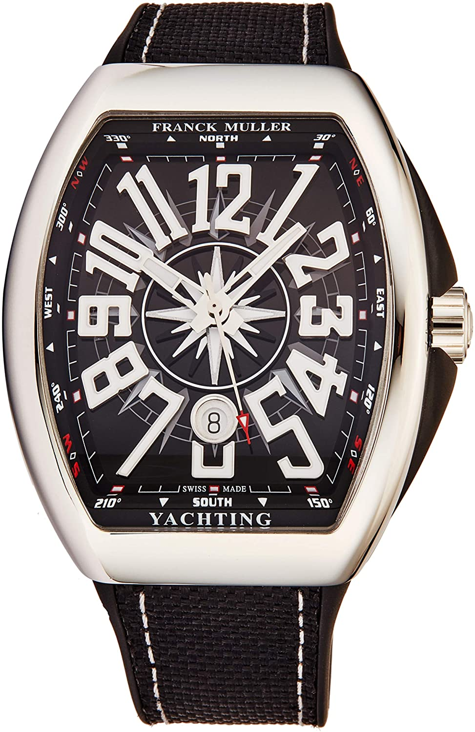 Franck Muller Vanguard Yachting Mens Stainless Steel Automatic Watch - Tonneau Black Face with Luminous Hands, Date and Sapphire Crystal - Black Fabric/Rubber Strap Swiss Made Watch V 45 SC Yacht BLK