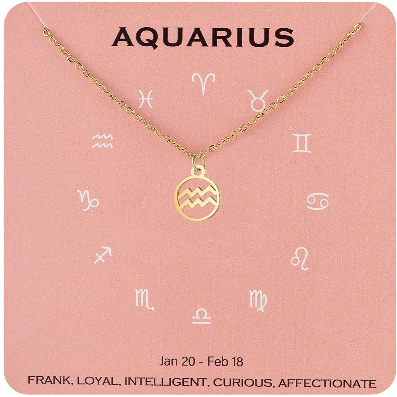 Augonfever Zodiac Necklace Constellation Horoscope Jewelry Birthday for Women Girls