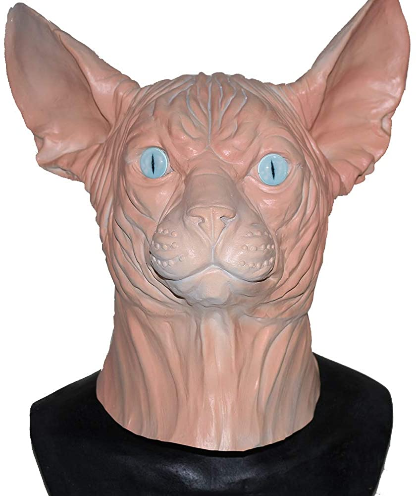 Sphynx Hairless Cat Mask Adult Animal Full Head Mask Halloween Costume Party Latex Carnival Mask