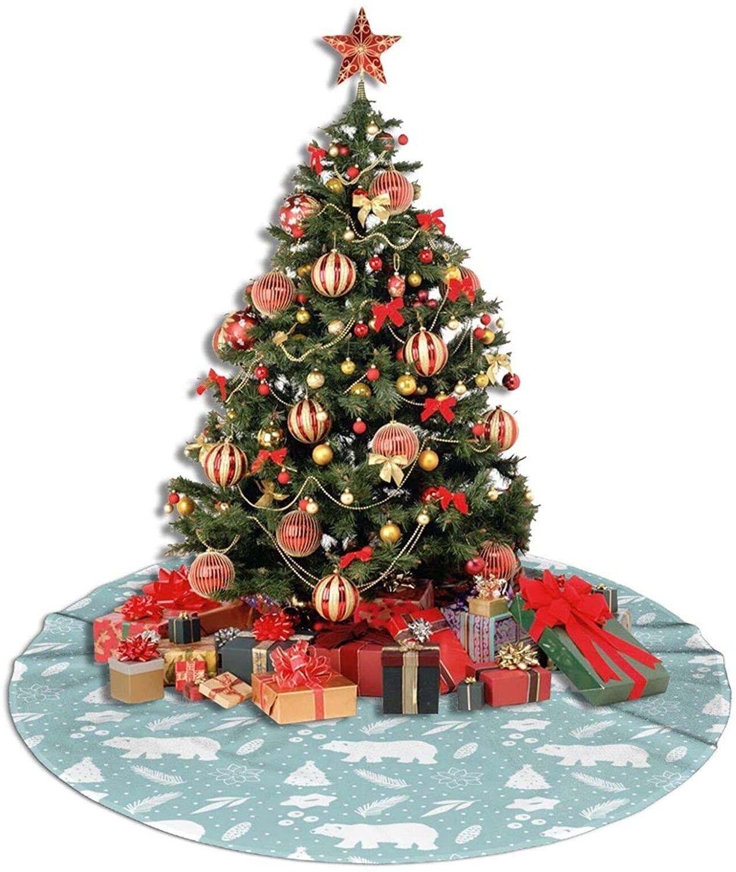 WEREWTR Polar Bear Holiday Christmas Christmas Tree Skirt 36