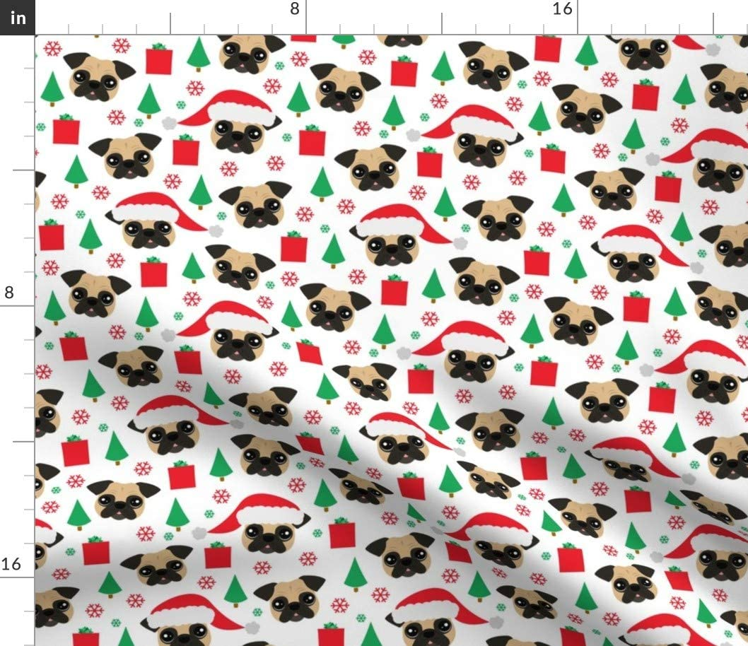 Spoonflower Fabric - Pug Christmas Dogs Snowflake Puppy Winter Printed on Basketweave Cotton Canvas Fabric by The Yard - Upholstery Home Decor Bottomweight Apparel