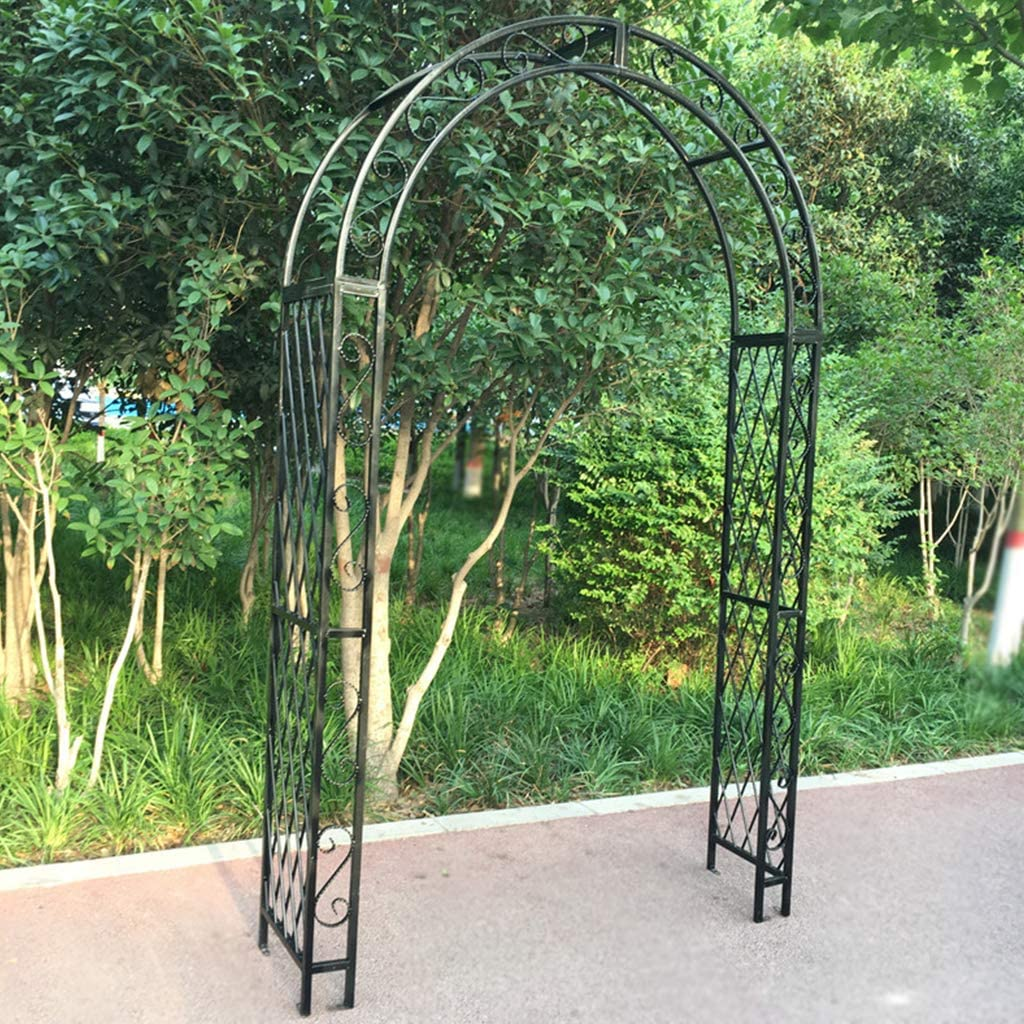 Garden Patio Outdoor Large Black Metal Decorative Arch Wedding Rose Archway Ornament Arbour Pergola for Climbing Plants Trellis Support