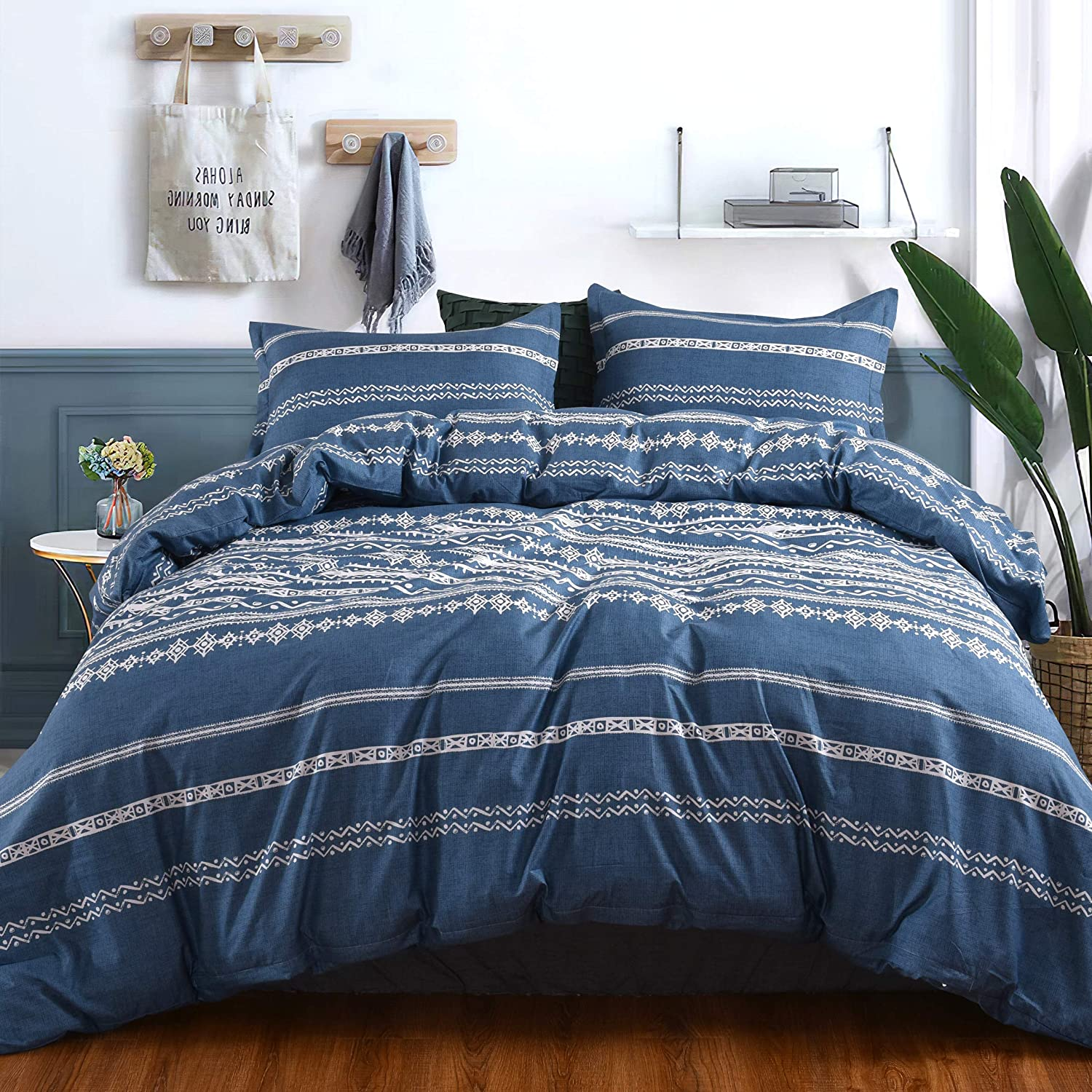 Caurbed Duvet Cover 3 Piece Set Cozy Microfiber Light Modern Striped Bedding Sets Blue Bohemian Pattern Printed Comforter Cover with Zipper Closure(Queen)