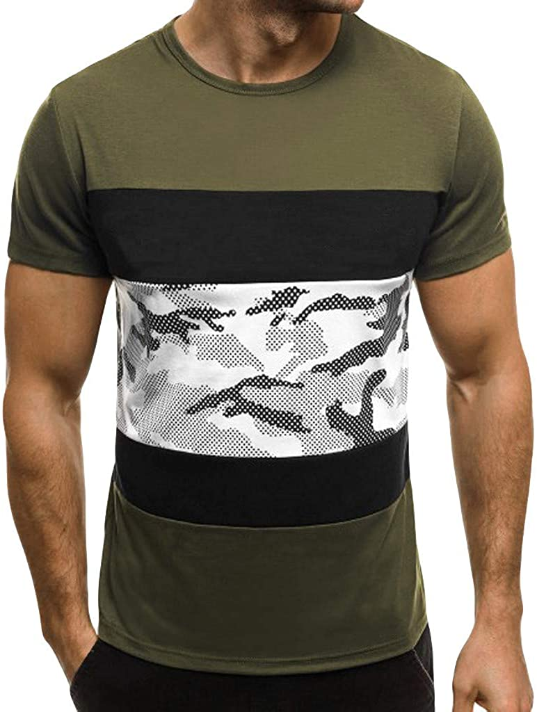 XQXCL Men's Short Sleeve T-Shirts Camouflage Printing Color Matching O-Collar Fashion Cotton Top