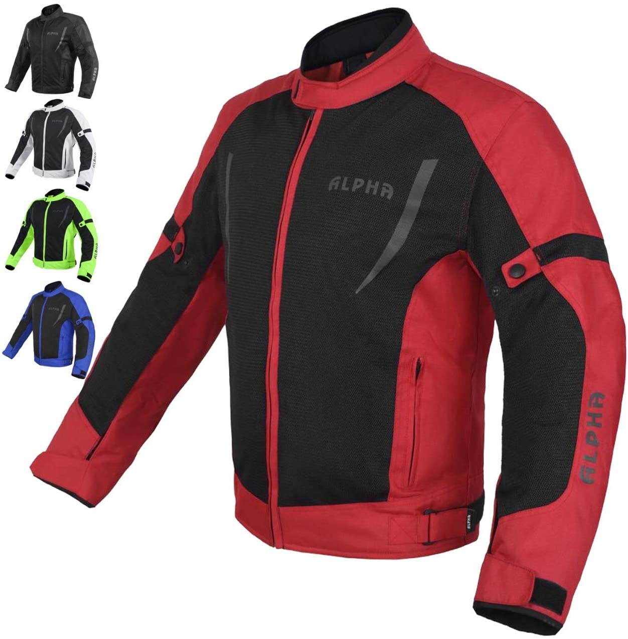 HI VIS MESH MOTORCYCLE JACKET FOR MENS RIDING BIKERS RACING DUAL SPORTS BIKE ARMORED PROTECTIVE (RED, X-LARGE)