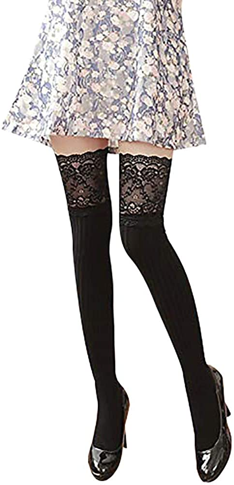 ChezAbbey Womens Long Cotton Thigh High Socks Over the Knee Stockings Lace Trim Boot Leg Warmers