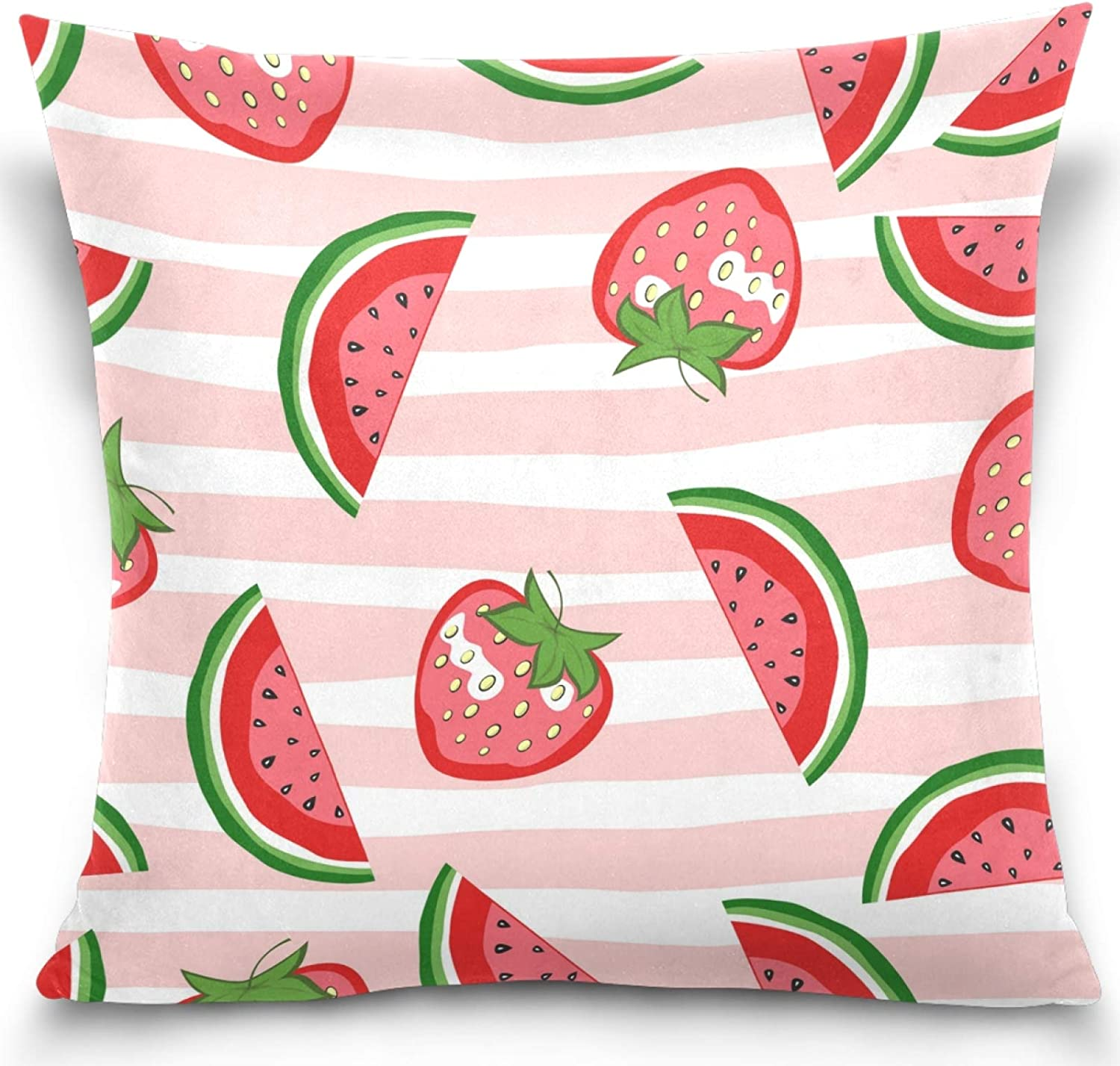 Kaariok Summer Fruit Watermelon Strawberry Pink Stripe Pillow Cover Square Soft Cotton Velvet Pillowcase Cushion Case for Sofa Couch Bed Home Car Decor 20
