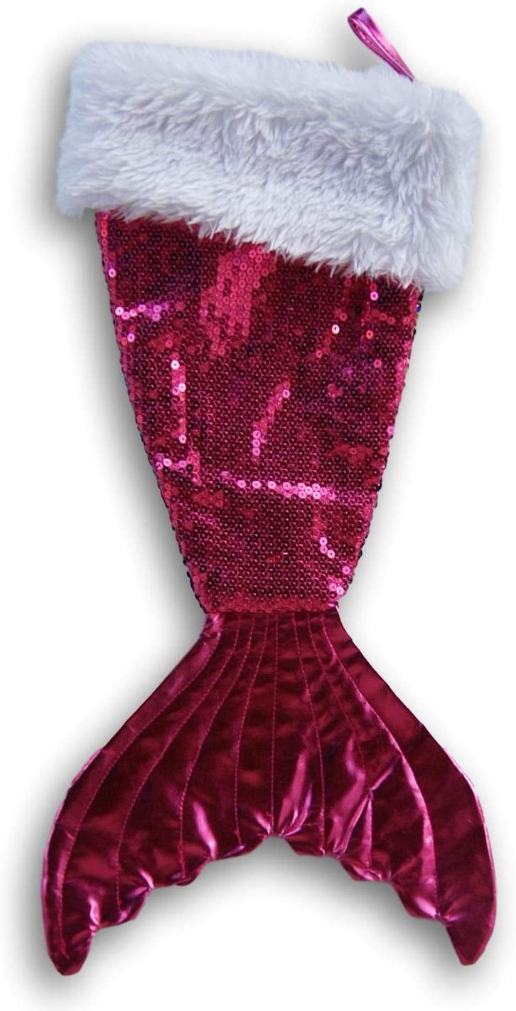 Mermaid Tail Christmas Stocking with Colorful Scales and White Plush Cuff - 11.5 x 21 Inches (Hot Pink/Iridescent)